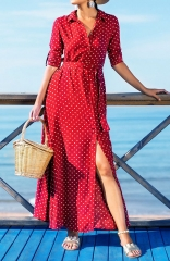 Red and White Polka Dot Button Pocket Maxi Dress