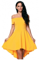 Off-The-Shoulder Short Sleeve yellow Dress