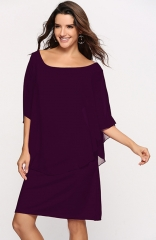 Round Neck 3/4 Sleeves chiffon Wine Red Maxi Dress