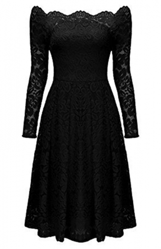 Long-Sleeve Floral Lace Black Dress