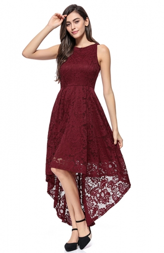 High-Low Lace Off-The-Shoulder Printed Dress