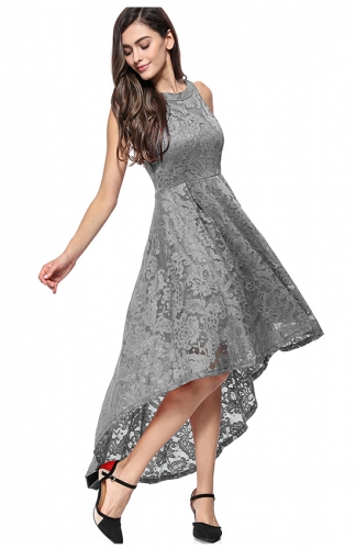 High-Low Lace Off-The-Shoulder Printed Gray Dress