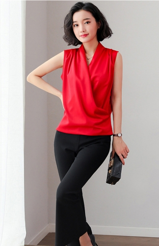 Ladies Summer Elegant Sleeveless V-neck Tops