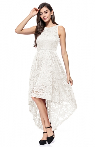 High-Low Lace Off-The-Shoulder Printed White Dress