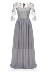 Lace Embroidery Gown Double-Layer Chiffon Maxi Dress