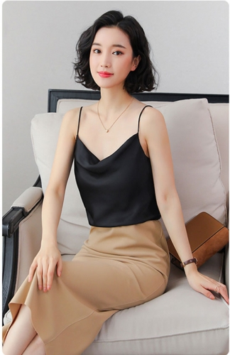 Black Sling Backless Chiffon Bottoming Shirt Blouse