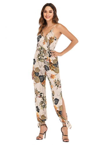 Off Shoulder Printed V-neck Jumpsuit