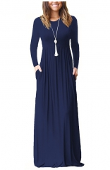 Long Sleeve Pockets Loose Maxi Dresses