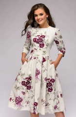 Vintage White Floral Dress Elegant Midi Evening Dress