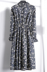 blue field of vision floral print long sleeve maxi dress