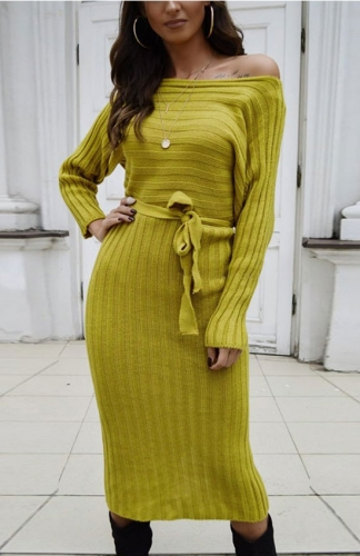 Yellow Ribbed Long Sleeve Midi Sweater Dress