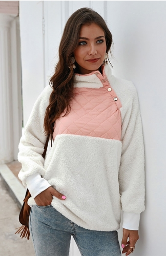 Long Sleeves Oblique Button Neck Sweatshirts Outwear