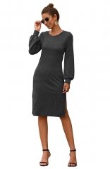 Ideal Status Gray Long Sleeve Side Split Midi Dress
