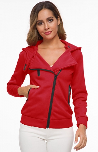Women Fleece Zip-Up High Neck Jacket