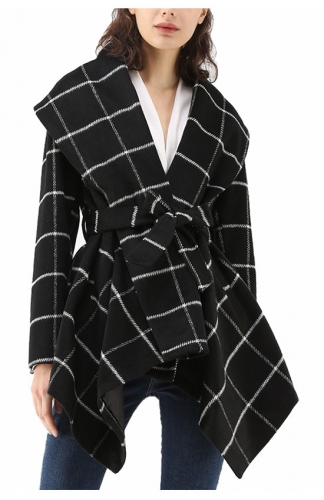 Asymmetric Hem Thin Plaids Wrap Coat