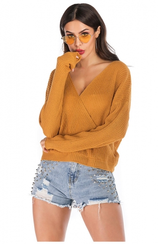 V Neck Knitted Sweaters Long Sleeves Backless Loose Casual Tops