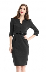 Retro Black 3/4 Sleeve Business Pencil Dress with Belt