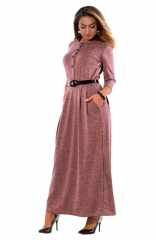 Long Sleeve Wine red Button-Up Maxi Dress