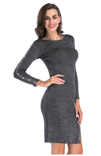 Elegant Gray Bodycon Midi Sweater Dress