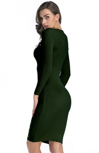 Green Long Sleeve Cut Out Front Ribbed Sweater Dress