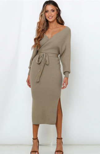 Sweater Dresses khaki V Neck Slit Open Back Dress with Belt