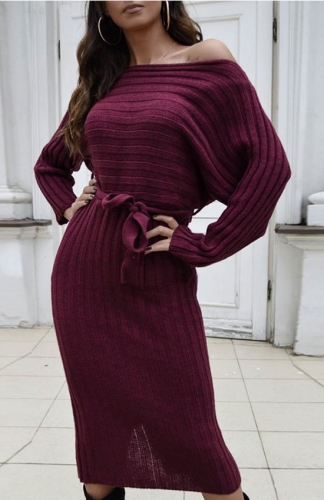 Ribbed Wine red Long Sleeve Midi Sweater Dress