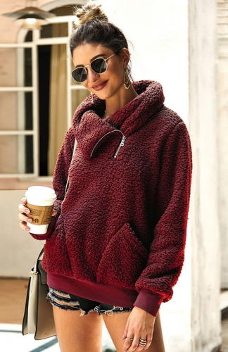 Red Winter Lapel Sweatshirt with Pockets Outwear