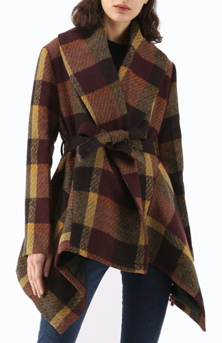 Brown Asymmetric Hem Thin Plaids Wrap Coat