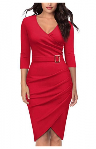 Red V-Neck Criss Cross Ruched Formal Pencil Dress