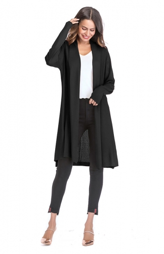 Black Casual Lightweight Long Sleeve Cardigan Soft Tops