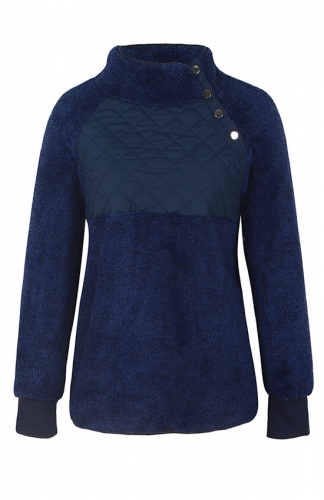 Blue Long Sleeves Oblique Button Neck Sweatshirts Outwear
