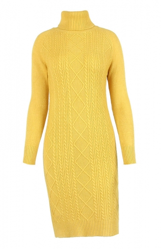 Yellow Turtleneck Long Sleeve Knit Sweater Dress