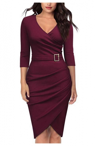 Wine red V-Neck Criss Cross Ruched Formal Pencil Dress