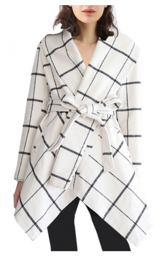 White Asymmetric Hem Thin Plaids Wrap Coat