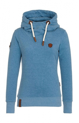 Blue fall and winter hooded women add wool fleece coat