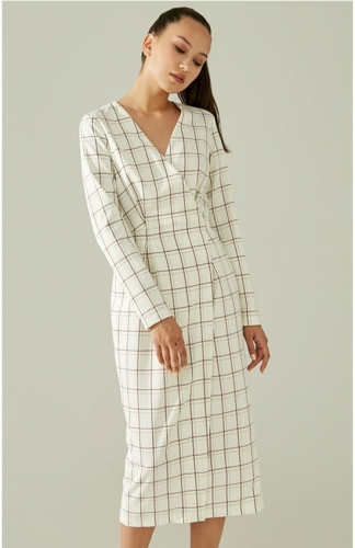 White long sleeve plaid long dress Sexy v-neck party dress