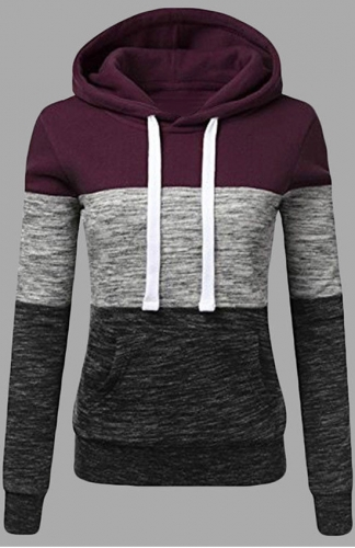 Fleece Pullover Red Long Sleeve Hoodie Sweatshirts