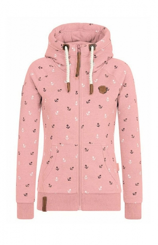 Pink Fleece Hoodies Jacket Zipper printing Sweatshirt