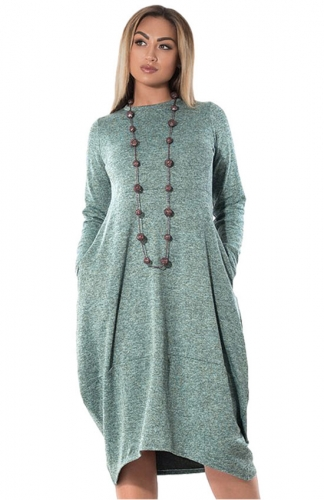 Women's Green O-Neck Straight Dress with Pockets