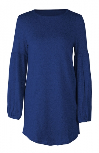 Blue Loose Casual  Knitted Sweaters Long Sleeve Dresses