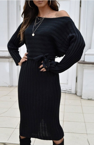 Black Ribbed Long Sleeve Midi Sweater Dress