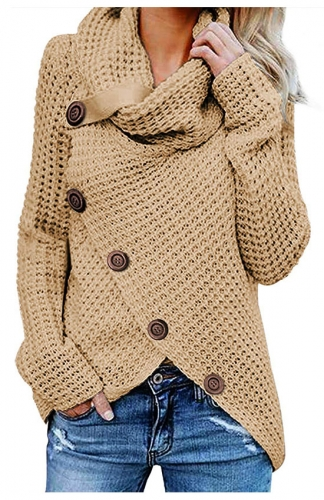Casual Turtle Cowl Neck Asymmetric Hem Button Knit Sweater