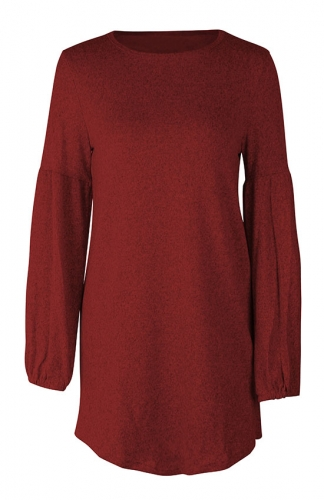 Loose Casual Red Knitted Sweaters Long Sleeve Dresses