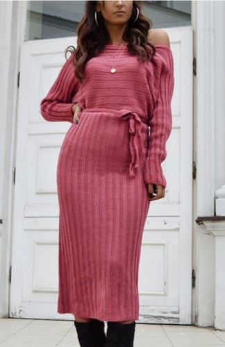 Pink Ribbed Long Sleeve Midi Sweater Dress