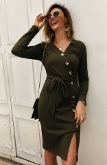 Green Long sleeve v-neck single breasted dress