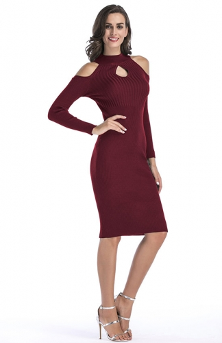 Burgundy Long Sleeve Cold Shoulder Warm Sweater Dress