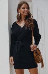 Black V Neck Backless Long Sleeve Wrap Bodycon Pencil Dresses