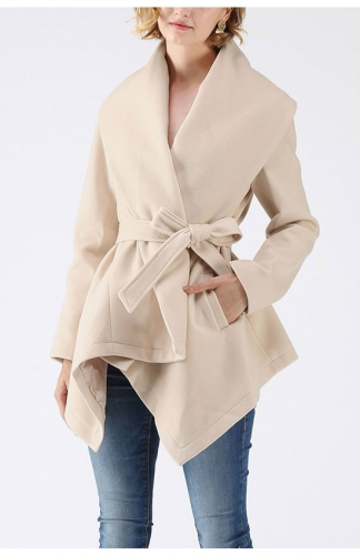 Beige Asymmetric Hem Thin Plaids Wrap Coat