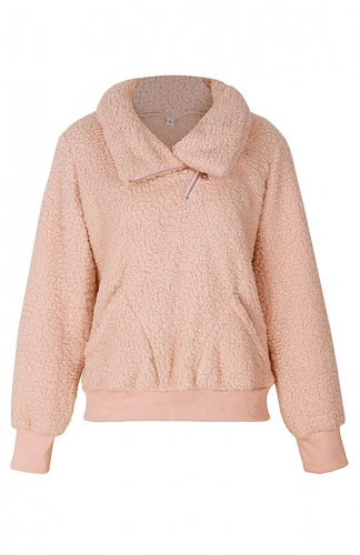 Pink Winter Lapel Sweatshirt with Pockets Outwear