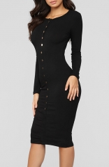Black Fitted Stretch Sexy Sweater Warm Dress